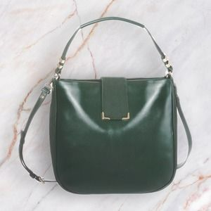 WHBM Emerald Green Hobo Bag Suede Silver Hardware